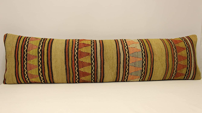 Extralong Handmade Lumbar kilim pillow 12x47 inch (30x120 cm) Throw pillow covers Boho pillow Turkish Kilim pillow cover bedding pillow Small Oblong Kilim Cushion Cover Tribal Pillow Home&Kitchen