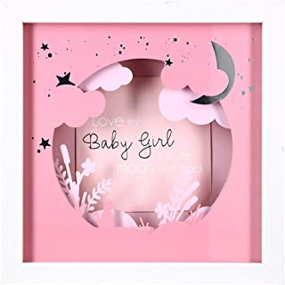 Pavilion Gift Company Love My Baby Girl To The Moon And Back 7.75 Inch Shadow Box With 4x4 Inch Replaceable Picture Frame,...