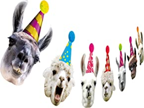 Llama Birthday Garland, Funny Alpaca Face Portrait Bunting, Hilarious Bday Party Decoration