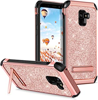 GUAGUA Galaxy A8 2018 Case,Galaxy A5 2018 Case Kicstand Girls Women Slim 2 in 1 Hybrid Hard PC Cover Soft TPU Shockproof Protective Phone Case for Samsung A8 2018/A5 2018/A530 Rose Gold