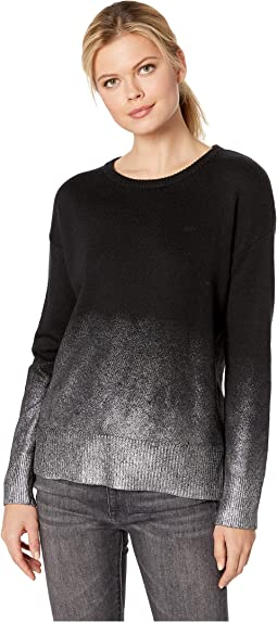 Long Sleeve Drop Shoulder Foiled Ombre Sweater