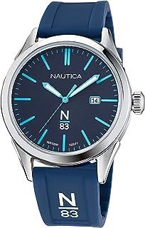 Nautica Men's Quartz Silicone Strap, Blue, 20 Casual Watch (Model: NAPHBF117)