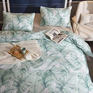 TEALP Duvet Cover Pillow Shams Cases Tropical Beddding Set 1800 Thread Count Microfiber Hotel Luxury Soft Breathable Home Deco 3pcs No Comforter No Sheet Green Palm Leaves,King
