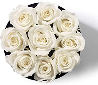 Bellissima Fiore White Preserved Rose   Flower Arrangement Box   New Love Gift   Anniversary, Birthday, Valentine's Day, Mother's Day, Wedding, Christmas   Forever Rose   Handcrafted Arrangement