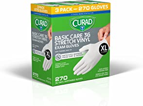 Curad Disposable, Basic Care, 3G Stretch, Vinyl Exam, Gloves - Latex Free, Medical Grade, Non-Sterile, Powder Free, X-Large, 90 Count (3-Pack)