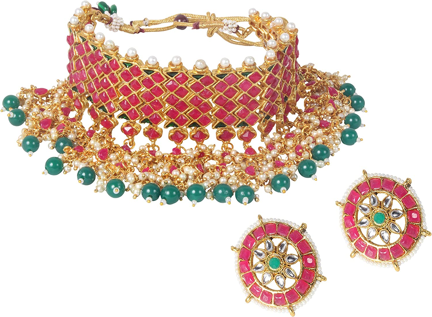 Traditional Ethnic Gold Tone Polki Indian Necklace Earrings Set Partywear Jewelry