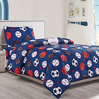WPM Kids Collection Bedding 4 Piece Blue Twin Size Comforter Set with Sheet Pillow sham and Baseball Toy Soccer Baseball B...