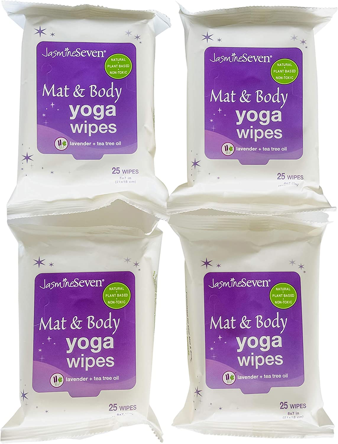 Yoga Wipes for Mat and Body – Natural Lavender and Tea Tree – Set of 4 (25 Wipes per Pack) = 100 Wipes - by Jasmine Seven – for Home, Studio, Gym, Travel - New!