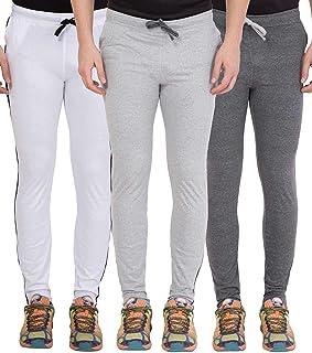 American-Elm Men's Pack of 3 Light Grey, White, Dark Grey Designer Track Pant, Gym Wear