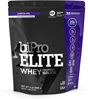 BiPro Elite 100% Whey Isolate Protein Powder, Chocolate, 2 Pounds - NSF Certified for Sport, Sugar Free, Suitable for Lact...