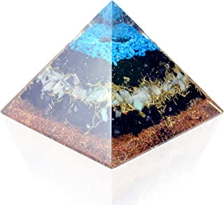 Orgone Pyramid Energy Generator Turquoise Black Tourmaline Pyramid for Emf Protection Detoxification Meditation Healing Ch...
