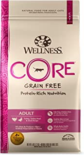 Wellness CORE Grain-Free Turkey, Turkey Meal & Duck Formula Dry Cat Food, 5 Pound Bag (8859)