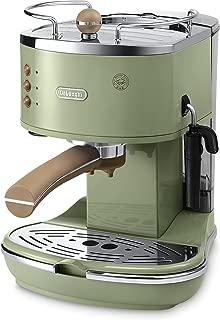 De'Longhi 复古 Icona ECOV310.GR 泵浓咖啡和卡布奇诺咖啡机,1.4 升,1100 瓦 - 绿色
