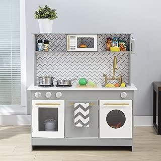 Teamson Kids Bermingham Wooden Kids Play Kitchen, Toddler Pretend Play Set with accessories, Grey/ White