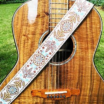 WINGO Correa de Guitarra para Bajo guitarra Española Acústica Clásica Folk eléctrica acústica Bass Guitar Longitud Ajustable 89-151cm con 1 Genuino Cuero Botón de y 3 Púas de Guitarra- Vintage: Amazon.es: Instrumentos