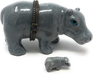 Porcelain Hippopotamus Hinged Lid Trinket Box with Tiny Hippo Inside, 3.5 Inches Long