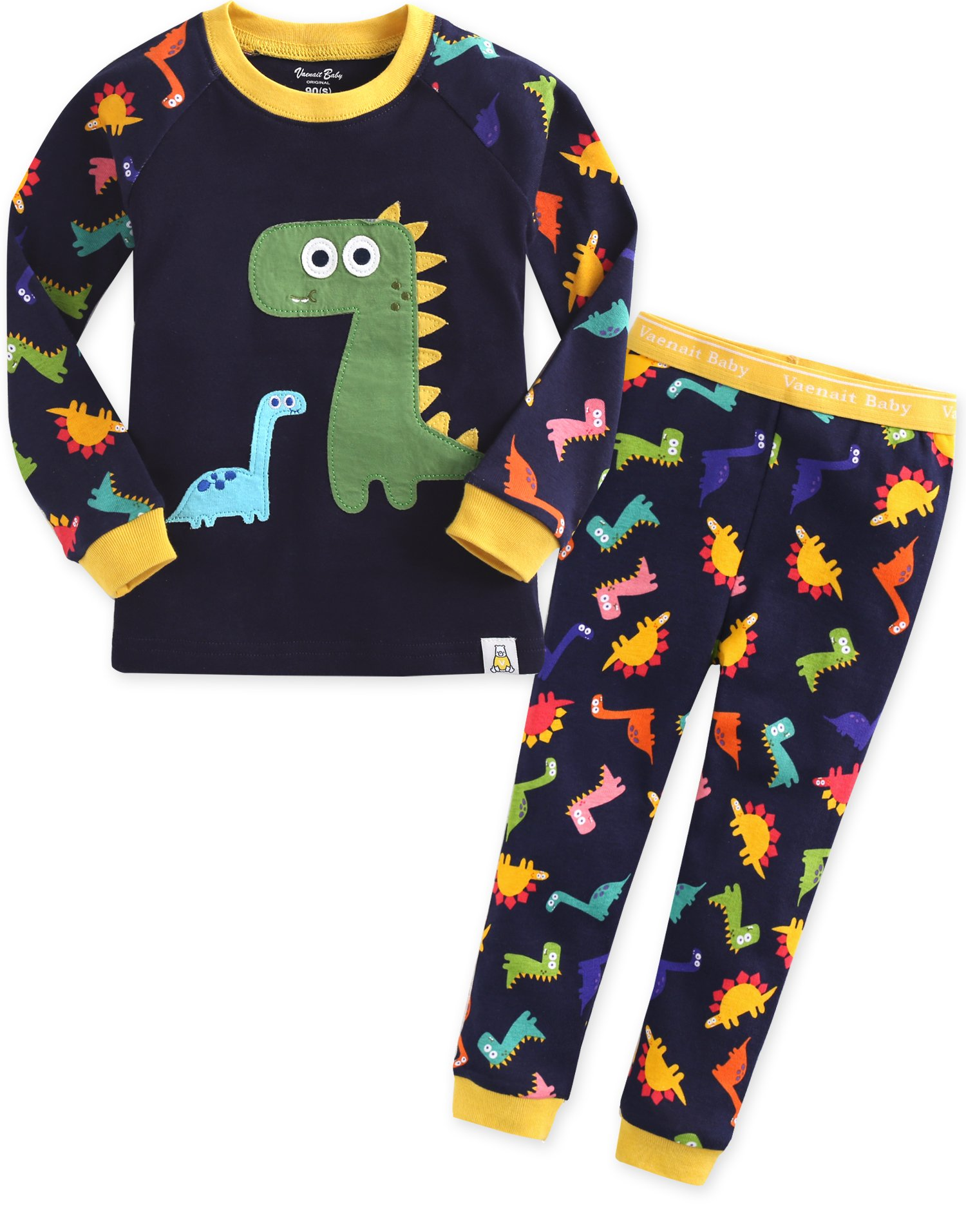 Image of Fun Cartoon Dino Pajama Set for Boys - See More Designs