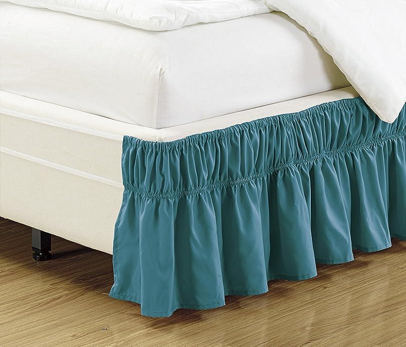 先のことを考えるブレーク階層ファンシーコレクション イージーフィット ベッドフリル ゴムひも ツインフルベッドスカート 35.56cm ドロップ 簡単取り付け 無地 ターコイズ