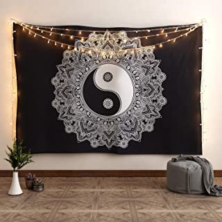 Acrotor Tapestry Wall Hanging, Black and White Indian Mandala Tapestries, Hippie Bohemian Wall Tapestry,Wall Decor for Living Room Bedroom (51.2ʺ × 59.1ʺ)