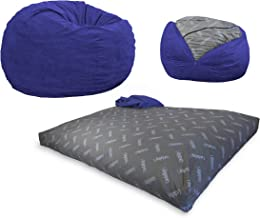 CordaRoy's Bean Bag Chair, Corduroy Convertible Chair Folds from Bean Bag to Bed, As Seen on Shark Tank - Navy, Queen Size