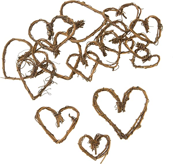Darice Mini Grapevine Hearts Natural 1 To 2 Inches 15pcs