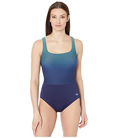 TYR Fishnet Scoop Neck Controlfit (Turquoise) Women