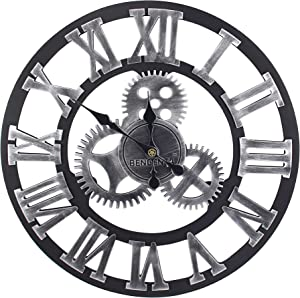 Bengenta Vintage Gear Wall Clock 28 inch Noiseless Silent Non-Ticking Wooden Wall Clock - Large 3D Retro Rustic Country Decorative Luxury for House Warming Gift Black&Silver