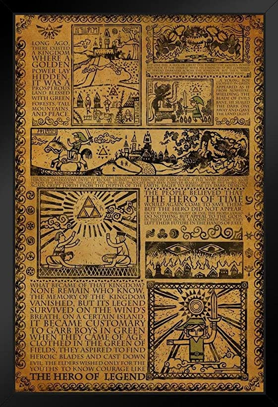 Pyramid America Zelda Story of The Hero Mythology Timeline Video Game Gaming Framed Poster 14x20 inch