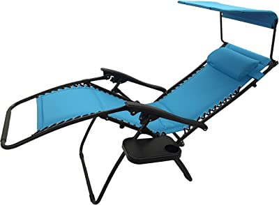 Styled Shopping Inc Deluxe Padded Zero Gravity Chair with Canopy and Tray Light Blue