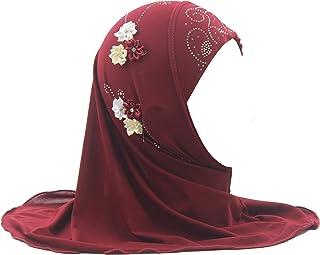 Modest Beauty Hijab Scarf Girls Hijab Head Scarfs Head Wrap with Flowers Hijab for Girls