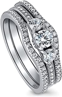 BERRICLE Rhodium Plated Sterling Silver Round Cubic Zirconia CZ 3-Stone Anniversary Engagement Wedding Ring Set 0.84 CTW