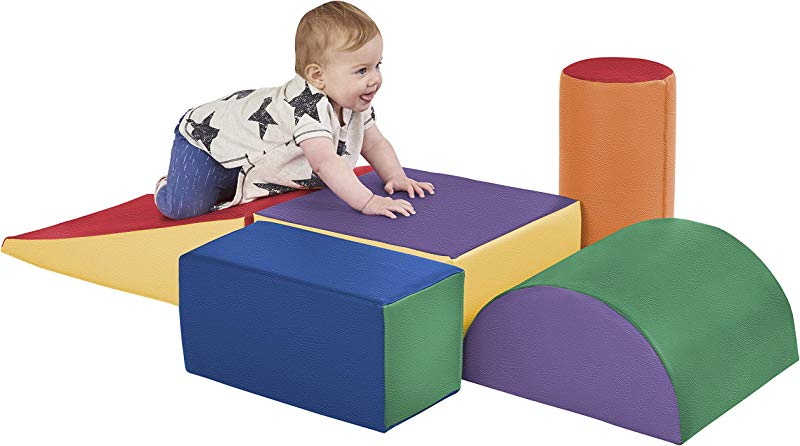 ECR4Kids SoftZone Climb And Crawl Activity Play Set Lightweight Foam Shapes For Climbing Crawling And Sliding Safe Foam Playset For Toddlers And Preschoolers 5 Piece Set Primary