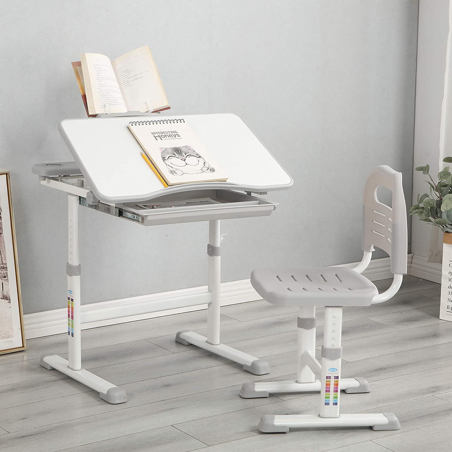 Anwick Kids Desk and Chair Set Adjustable Height Wr Study Childs Financial sales Max 75% OFF sale