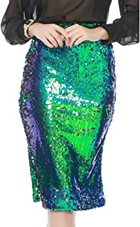 Haijie Womens's High Waist Blue Green Sequins Long Pencil Skirt Dress
