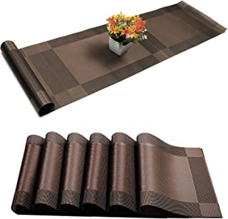 U'Artlines Placemat with Compatible Table Runner, Crossweave Insulation Placemat Washable Table Mats Set (6pcs placemats+Table Runner, Brown)