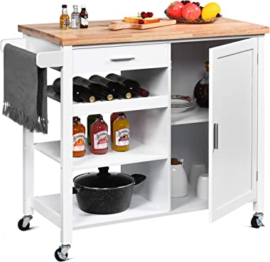 Catrimown Kitchen Island Cart on Wheels Rolling Kitchen Island with Storage Wood Top Wine Shelf Cabinet Handle Rack Drawer an
