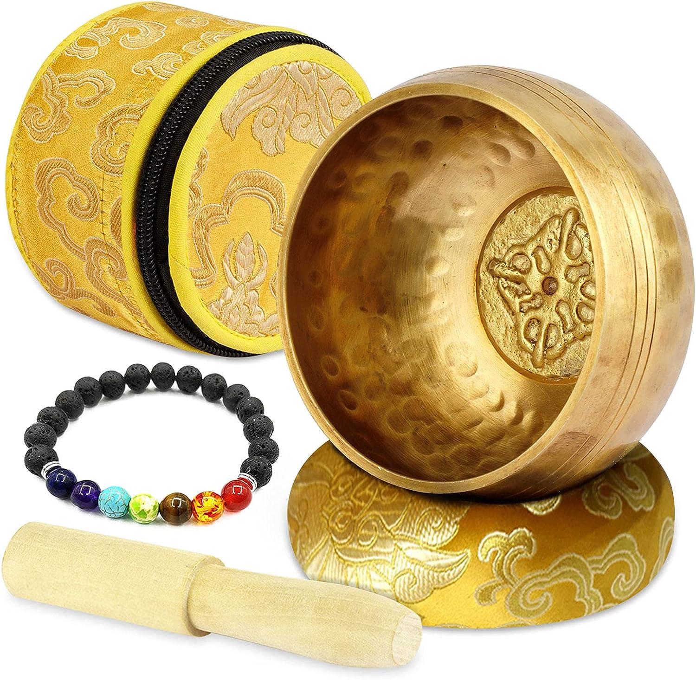 Zelaby Cuenco Tibetano 7 metales~Juego de Cuenco Tibetano a Mano ~Con Pulsera de piedra Chakra, mazo y cojín~Exquisito Regalo~Cuencos Tibetanos para Meditación~Relajación, Chakra Healing,Oración,Yoga