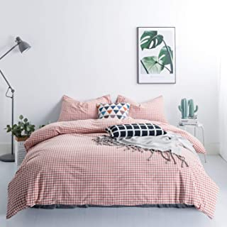 SUSYBAO 100% Washed Cotton 3 Pieces Gingham Duvet Cover Set Queen Size Coral Checked Bedding Set with Zipper Ties 1 Plaid Duvet Cover 2 Pillowcases Luxury Quality Super Soft Breathable Durable