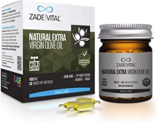 Zade Vital Natural Extra Virgin Olive Oil Serum Supports Skin Health & DIY Makeup Cosmeceuticals in Twist-Off 30 Softgels, Easy to Use, 100% Cold Press, Non GMO, GMP, 1 Month Supply