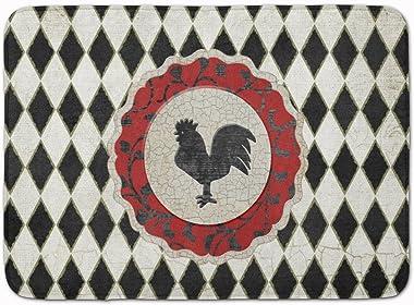 "Caroline's Treasures Rooster Harlequin Black and White Floor Mat, SB3086RUG, Multicolor, 19"" x 27"""