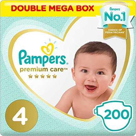 Pampers Premium Care Diapers, Size 4, Maxi, 9-14 kg, Double Mega Box, 200 Count