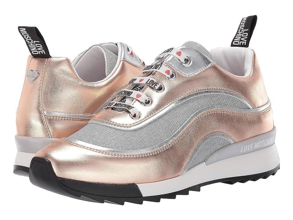 LOVE Moschino Metallic Sneaker with Glitter Mesh (Rose Gold) Women
