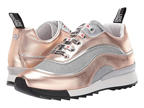 LOVE Moschino Metallic Sneaker with Glitter Mesh