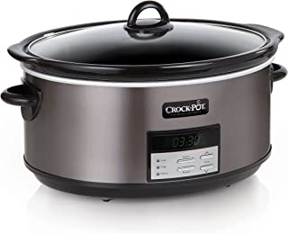 Crock Pot Slow Cooker|8 Quart Programmable Slow Cooker with Digital Countdown Timer, Black Stainless Steel