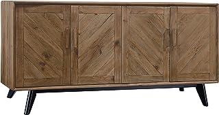 Adec - Pixie Aparador Consola de Salon o Recibidor 4 Puertas en Madera de Pino Reciclado y Negro Medidas: 180 cm (Larg...
