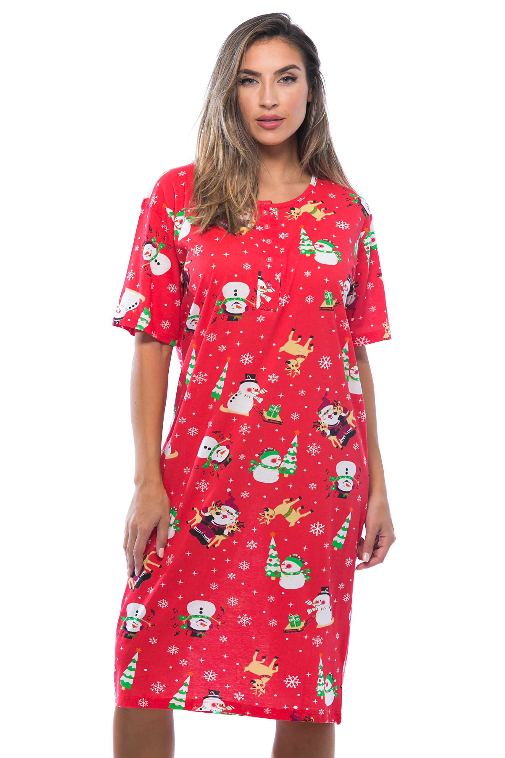 Image of Cute Short Christmas Print Nightgowns for Women - See More Prints