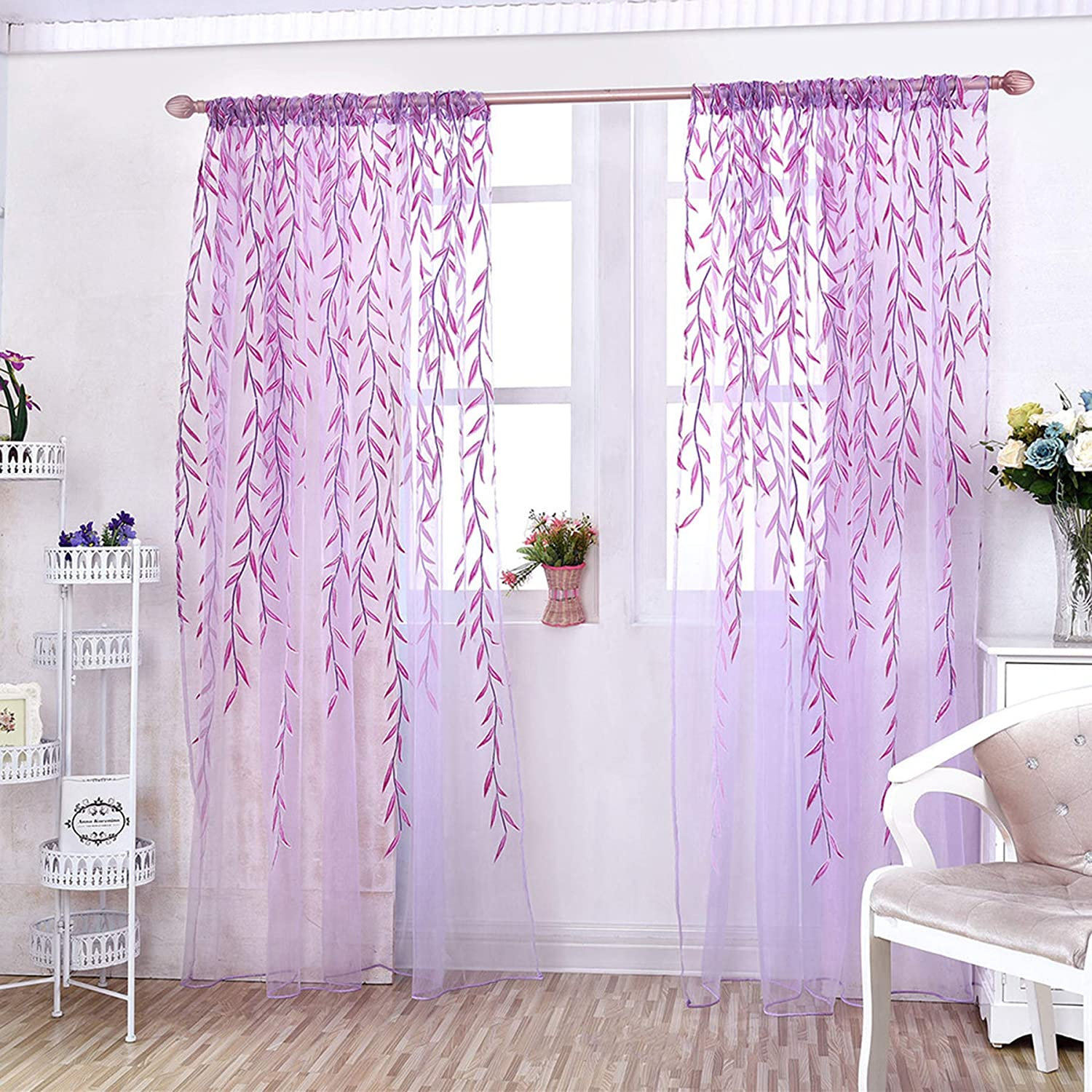 Branded goods Damask Print Sheer Curtain Window Ranking TOP19 Pan Floral Voile
