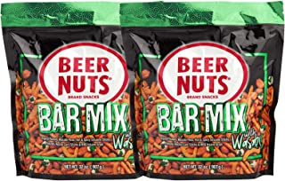 BEER NUTS Bar Mix with Wasabi - 32 oz Resealable Bag (Pack of 2), Original Peanuts, Wasabi Peas, Hot & Spicy Sesame Sticks...