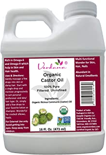 Verdana Castor Oil (16 fl oz) USDA Certified Organic, 100% Pure, Cold Pressed, Hexane Free. Helps Growth for Eyelashes, Ey...