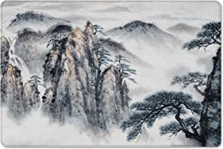 Leather Doormat Landscape Painting Ink Painting Mountain Non-Slip Rubber Floor Mats Chinese Style Durable Outdoor Entrance...